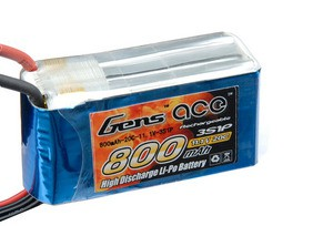 Аккумулятор Gens Ace Li-Po battery 11.1V 800 mAh 3S1P 20C Soft Case (ACE-800-3S-20S)