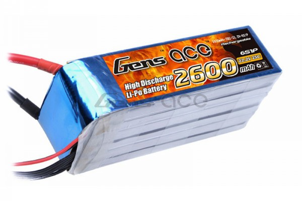 Аккумулятор Gens Ace Li-Po battery 22.2V 2600 mAh 6S1P 25C Soft Case (ACE-2600-6S-25S)