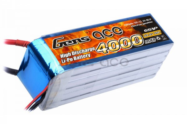 Аккумулятор Gens Ace Li-Po battery 22.2V 4000 mAh 6S1P 25C Soft Case (ACE-4000-6S-25S)