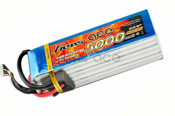 Аккумулятор Gens Ace Li-Po battery 22.2V 5000 mAh 6S1P 40C Soft Case (ACE-5000-6S-40S)