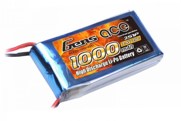 Аккумулятор Gens Ace Li-Po battery 7.4V 1000 mAh 2S1P 25C Soft Case (ACE-1000-2S-25S)