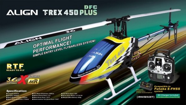 Вертолет Align T-REX 450 PLUS DFC Super Combo 3D RC (RTF Version) RH45E01XW (RH45E01XT)