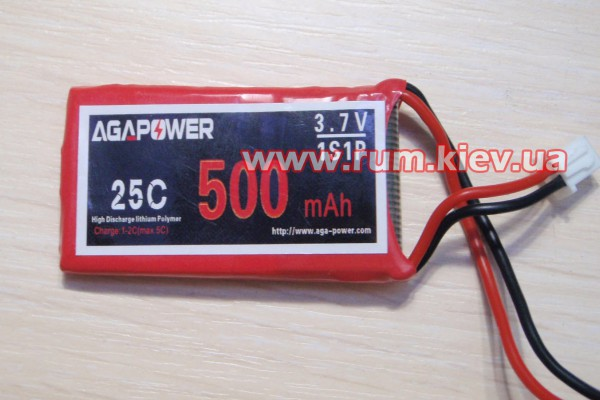 Аккумулятор AGA POWER Li-Po 500mAh 3.7V 1S 25C Softcase JST